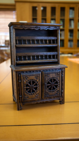 WPA Doll Furniture: Elaborate cabinet with two shelves and detailed cabinets